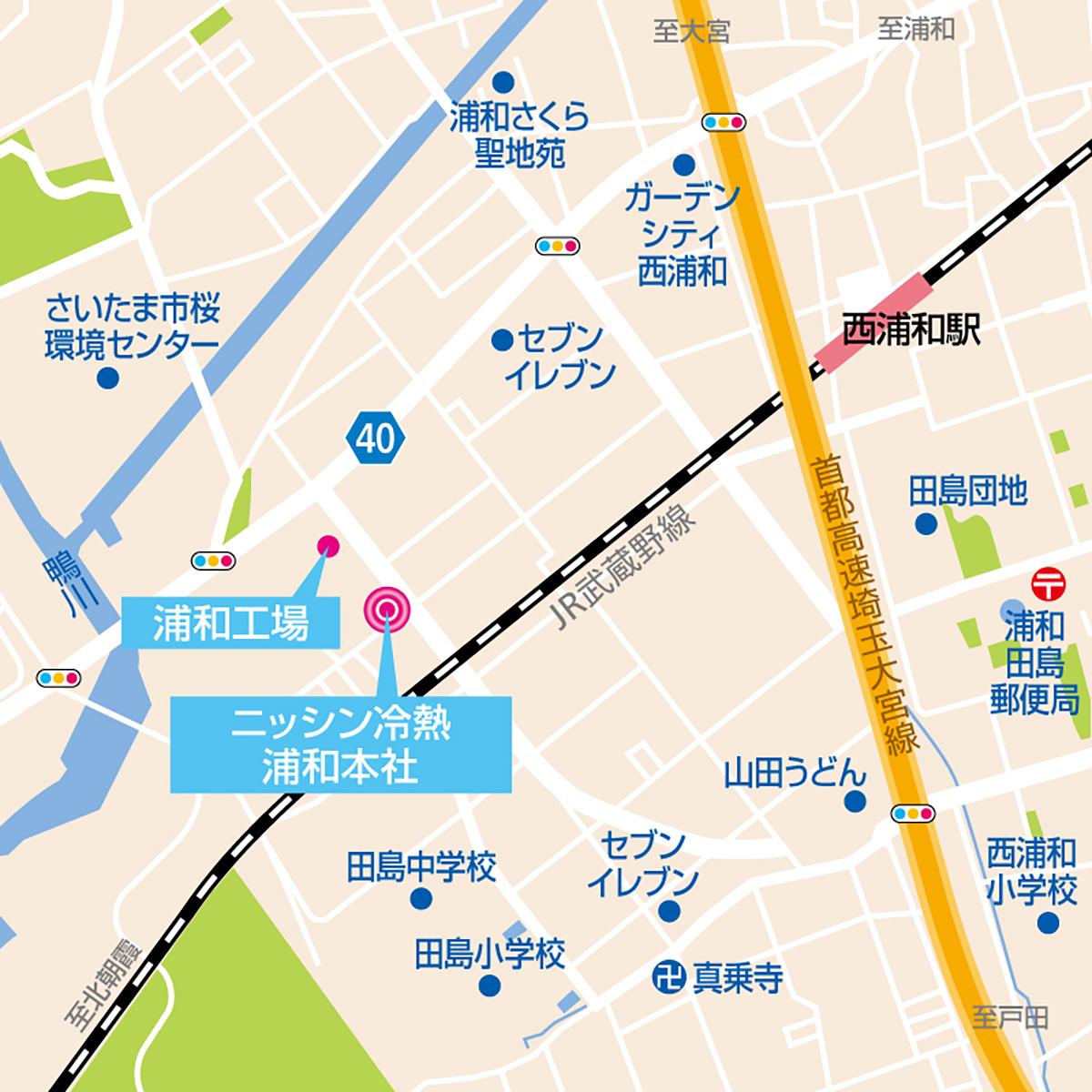 浦和本社・浦和工場地図